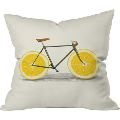Bicycle Orange Throw Pillow