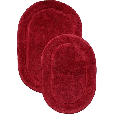 2 Piece Bath Rug Set Color: Red