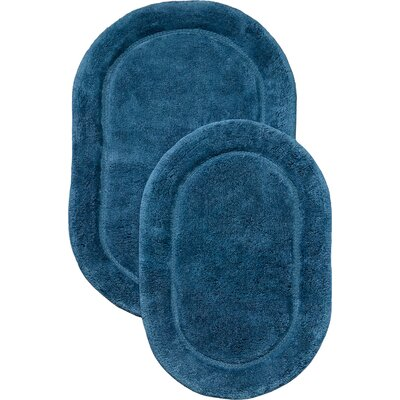 2 Piece Bath Rug Set Color: Blue
