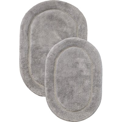 2 Piece Bath Rug Set Color: Silver