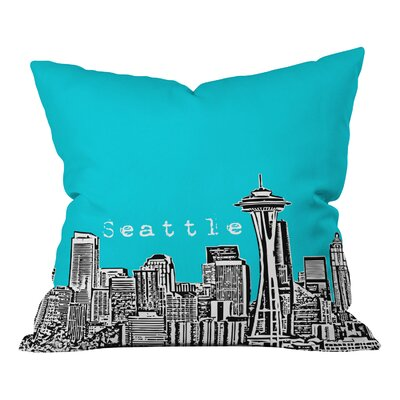 Bird Ave Seattle Throw Pillow Size: 18 x 18, Color: Teal