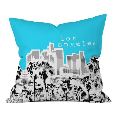 Bird Ave Los Angeles Throw Pillow Size: 20 x 20, Color: Aqua