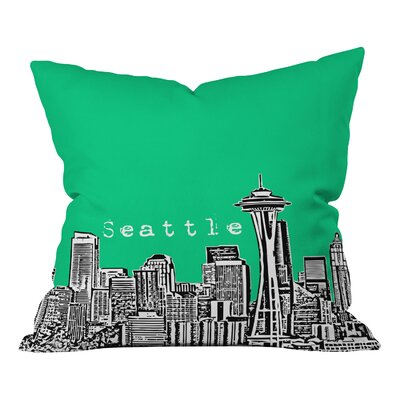 Bird Ave Seattle Throw Pillow Color: Green, Size: 18 x 18