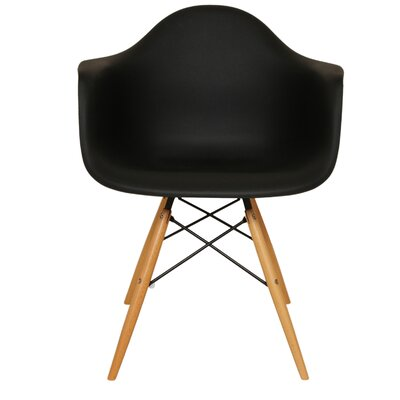 Wood Eiffel Armchair Upholstery: Black