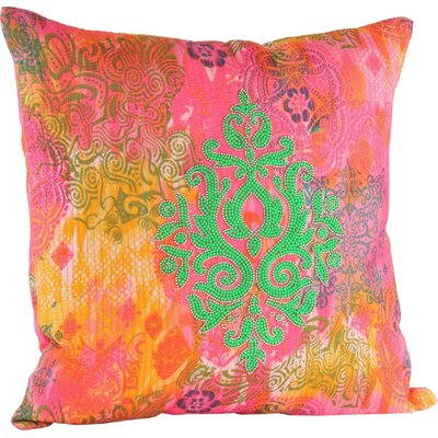 Julia Throw Pillow Color: Orange/Green