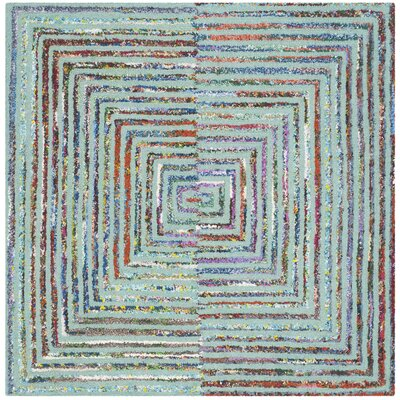Hand-Tufted Teal Area Rug Rug Size: Square 4