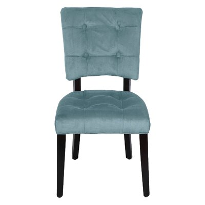 Parsons Solid Wood Chair Upholstery: Blue