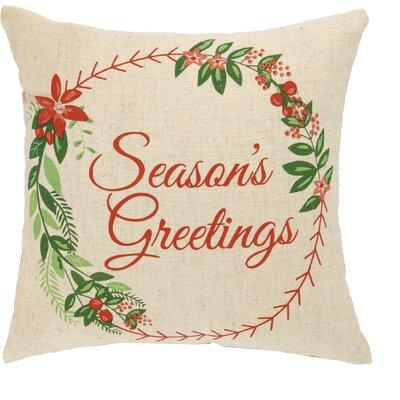 Seasons Greetings Linen Throw Pillow