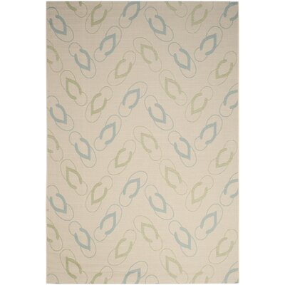 Lake Park Beige/Aqua Indoor/Outdoor Area Rug Rug Size: 67 x 96