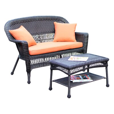 2 Piece Seating Group with Cushion Finish: Espresso, Fabric: Orange