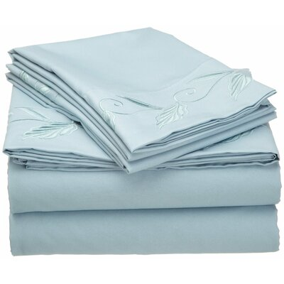 Microfiber Embroidered Sheet Set Size: Twin