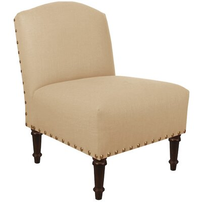 Springdale Camel Back Slipper Chair Upholstery: Linen Sandstone, Nailhead Detail: Brass Nailhead
