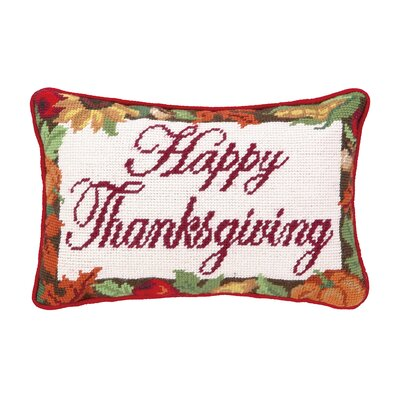 Happy Thanksgiving Wool Lumbar Pillow