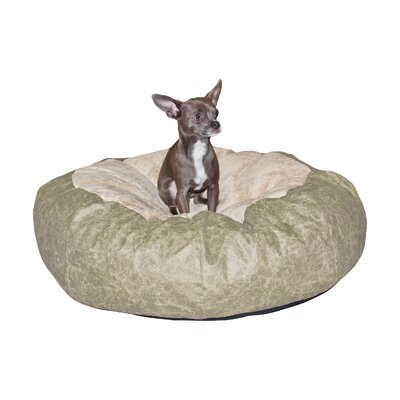 Self Warming Cuddle Ball Dog Pillow Size: Small (28 L x 28 W), Color: Tan Distress