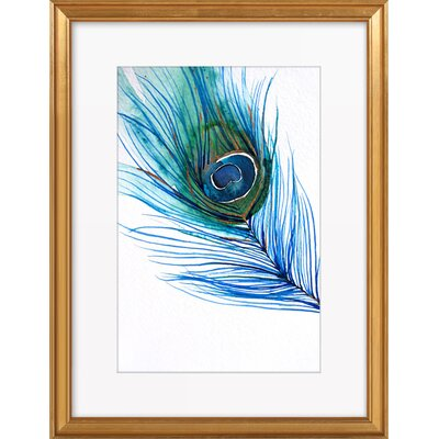 Peacock Feather Framed Giclee Print, Artfully Walls Size: 18 H x 14 W