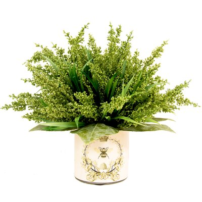 Green Heather in Decoupage Pot