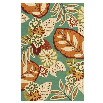 Waters Hand-Hooked Teal/Orange Indoor/Outdoor Area Rug Rug Size: Rectangle 33 x 53