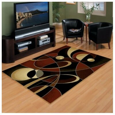 China Garden Black/Brown Area Rug Rug Size: 53 x 72