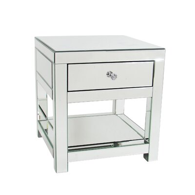 Beveled End Table With Storage