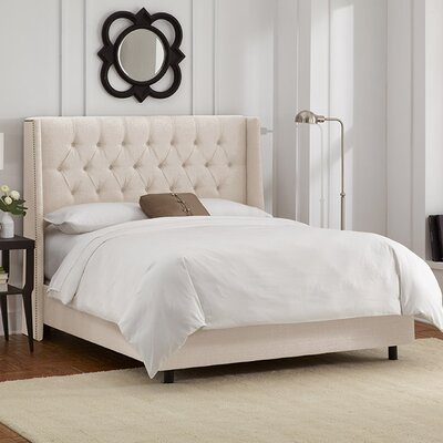Raleigh Tufted Linen Upholstered Platform Bed Size: California King, Color: Talc