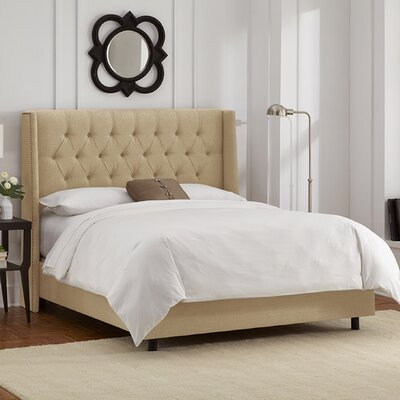 Raleigh Tufted Linen Upholstered Platform Bed Size: California King, Color: Sandstone