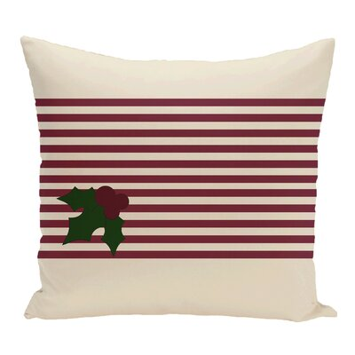 Holly Stripe Decorative Throw Pillow Size: 16 H x 16 W, Color: Ivory / Burgundy
