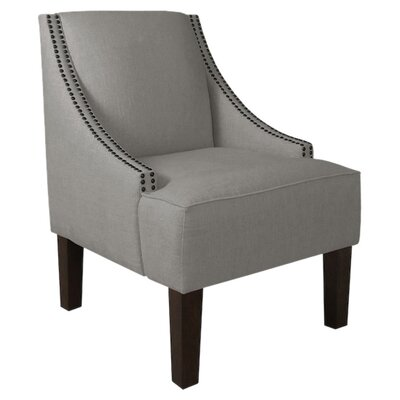 Fassbender Upholstered Side Chair Nailhead Trim Detail: Black Nailhead, Upholstery: Linen Grey