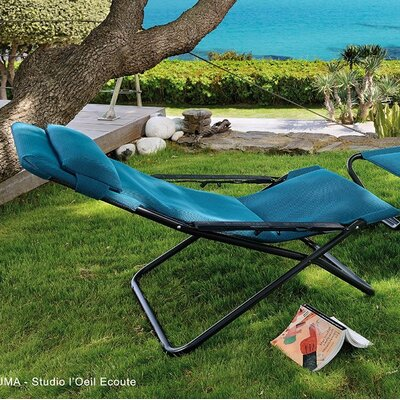 Paloma Folding Chaise Lounge with Cushion Color: Coral Blue