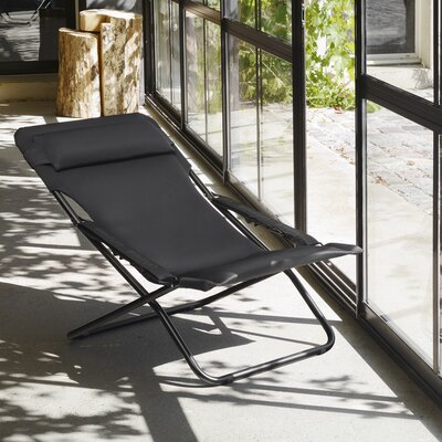 Paloma Folding Chaise Lounge with Cushion Color: New Acier