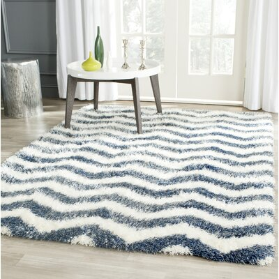 Kimberley Ivory/Blue Area Rug Rug Size: Rectangle 53 x 76