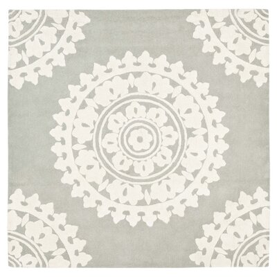 Hawley H-Woven Gray Area Rug Rug Size: Square 4