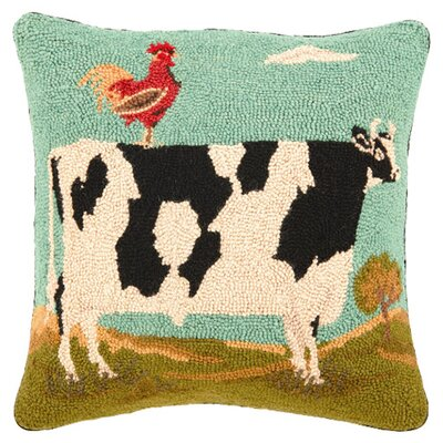 Rooster & Cow Wool Throw Pillow