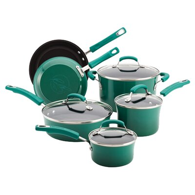 10-Piece Nonstick Porcelain Enamel Cookware Set in Fennel by Rachael Ray 12816