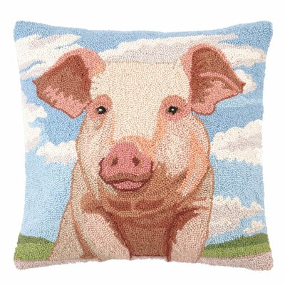 Pig Portrait Wool Throw Pillow