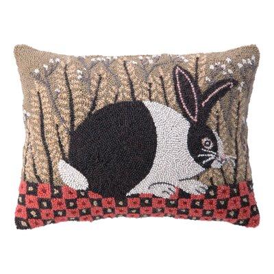 Checkerboard Bunny Wool Lumbar Pillow
