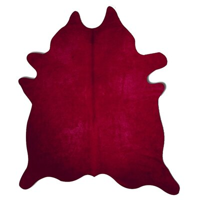 Geneva Cowhide 7 x 6 Rug in Burgundy