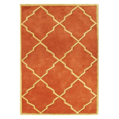 Kate Hand-Tufted Rust Area Rug Rug Size: 5 x 8