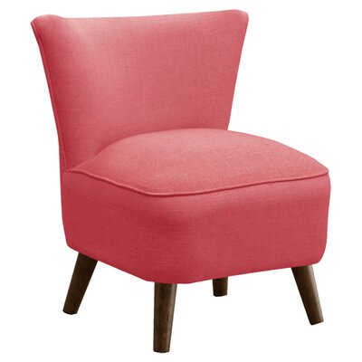 Crown Slipper Chair Upholstery: Linen Coral