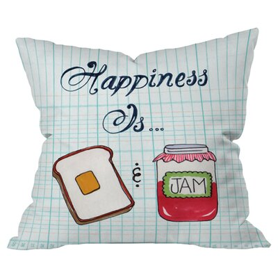 Heather Dutton Happiness is Toast and Jam Outdoor Throw Pillow Size: 18 H x 18 W x 6 D