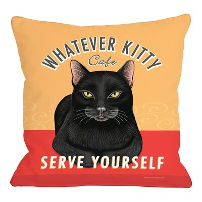 Whatever Kitty Cafe Throw Pillow