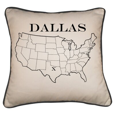Dallas Map Linen/Cotton Throw Pillow