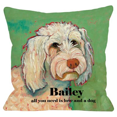 Personalized Love and A Poodle Throw Pillow