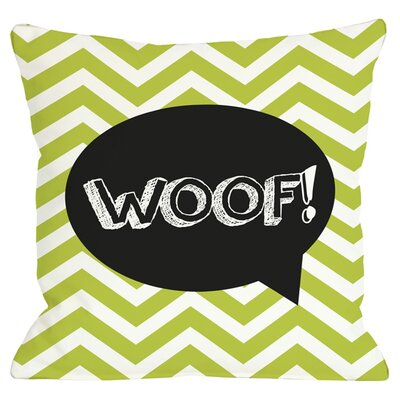 Woof Throw Pillow in Lime