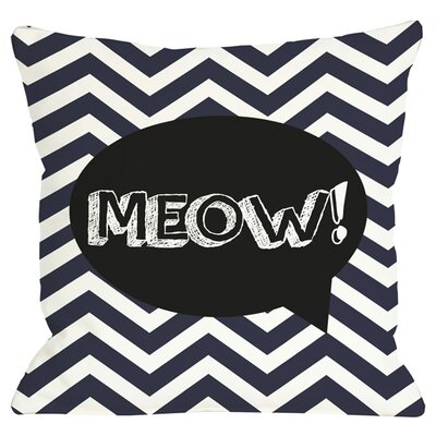 Meow Throw Pillow in Navy
