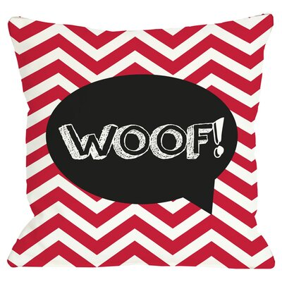 Woof Throw Pillow in Red