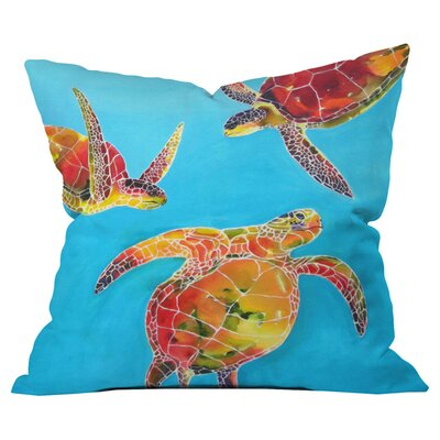 Clara Nilles Tie Dye Sea Turtles Outdoor Throw Pillow Size: 18 H x 18 W