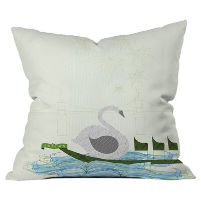 Jennifer Hill Boston Swan Boat Outdoor Throw Pillow Size: 16 H x 16 W x 5 D