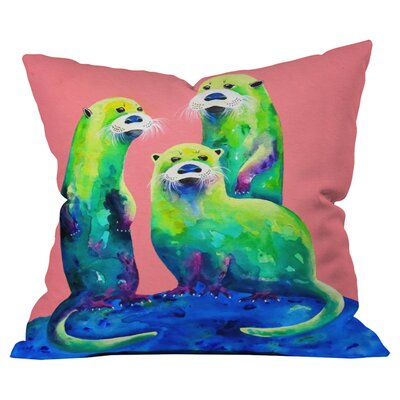 Clara Nilles Margarita Otters on Fresh Melon Outdoor Throw Pillow Size: 16
