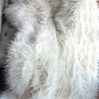 Faux Mongolian Lamb Throw Size: 60 W x 60 L