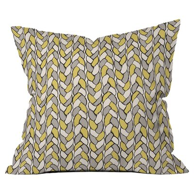 Bianca Green Braids Mustard Outdoor Throw Pillow